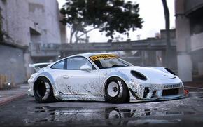 Picture 911, Porsche, Body, Tuning, Future, Silver, RWB, Wide, Kit, by Khyzyl Saleem, Murd
