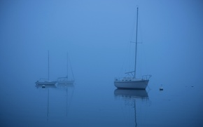 Picture sea, fog, boat, yacht