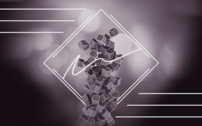 Picture line, abstraction, cubes, graphics, render