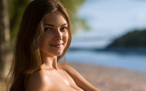 Picture sand, beach, summer, look, girl, face, smile, sweetheart, portrait, brown hair, Dasha, blue-eyed, beauty, bokeh, …