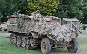 Wallpaper half-track, Special motor vehicle, guns, Sd Kfz 251, average, APC