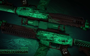 Picture sign, dragon, characters, symbol, green, paint, workshop, emerald, cs go, SG553, dynasty dragon