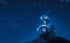 Wallpaper stars, blue, Valley, robot, WALLE