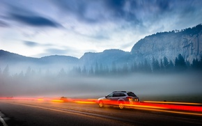 Picture road, machine, mountains, nature, lights, Yosemite Valley, national Park