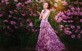 Picture girl, flowers, dress, lilac, Lilac dreams
