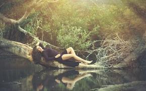 Picture water, reflection, tree, dress, Tatiana Alvarez