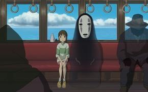 Picture train, anime, art, girl, Hayao Miyazaki, passengers, faceless, Chihiro, Spirited Away, Spirited away, Ogino Chihiro, …