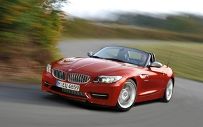 Picture road, red, speed, bmw z4