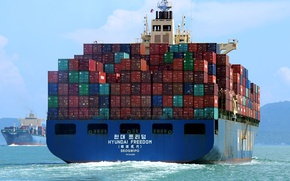 Picture sea, a container ship, the ship