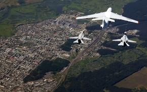 Wallpaper the sky, city, the city, height, pair, flight, bomber, sky, aircraft, bomber, military, BBC, flight, ...
