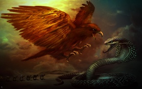 Picture battle, snake, desert, caravan, eagle