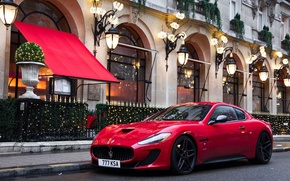 Picture red, street, the building, red, Maserati, street, building, Maserati GranTurismo