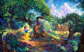 Wallpaper flowers, house, forest, cartoon, painting, Walt Disney, Snow Whites Magical Forest, Snow Whites, Tom duBois