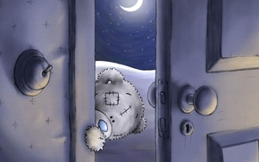 Picture night, the moon, the door, bear, Teddy