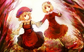 Picture autumn, leaves, red eyes, sisters, touhou, run, apron, Touhou Project, Remilia Scarlet, Flandre Scarlet, Project …