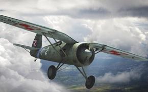 Picture the sky, figure, art, fighter-monoplane, single-engine, WW2, Polish, PZL P.11