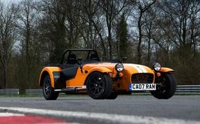 Picture trees, orange, background, Supersport, supercar, Seven, racing track, the front, Caterham, Supersport, Katerem, Seven