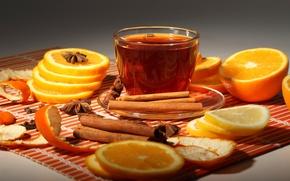 Picture tea, oranges, Cup, cinnamon