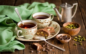 Picture coffee, chocolate, grain, plate, Cup, dessert, sweet, biscuit, pistachios, spoon