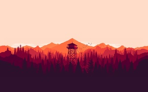 Wallpaper birds, the long dark, mountains, tower, forest, sunset