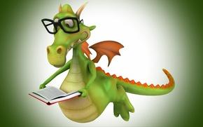 Picture wings, crocodile, glasses, book, reading