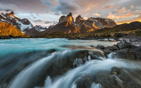 Picture river, morning, Chile, South America, Patagonia, the Andes mountains, national Park Torres del Paine