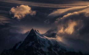 Picture mountain, snow, nature, sunset, clouds, top