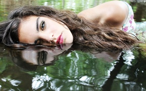 Picture water, girl, reflection, hair, makeup