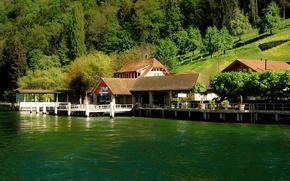 Picture trees, lake, shore, Switzerland, pier, slope, houses, Lucerne, Lake Lucerne, Bürgenstock, Bürgenstock