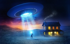 Picture house, people, UFO, UFO, flying saucer, abduction