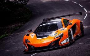 Picture McLaren, Machine, Asphalt, Orange, The hood, GT3, Supercar, The front, Sports car, In motion, 650S