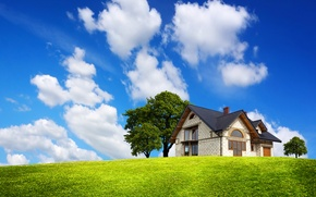 Picture trees, mansion, house, greens, field, blue, the sky, grass, clouds