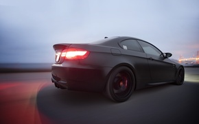 Picture black, bmw, BMW, Matt, rear view, speed, headlights, e92, matte black, road speed