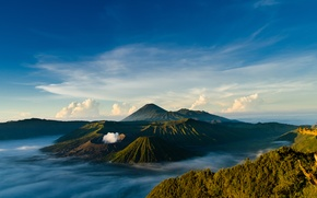 Picture spring, Java, Tengger, volcanic complex-the Caldera TenGer, active volcano Bromo, Indonesia, By regentzs