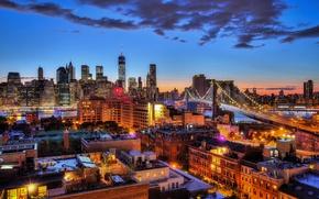 Wallpaper the sky, clouds, lights, New York, Brooklyn bridge, twilight, Manhattan, One World Trade Center, United ...