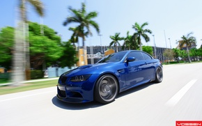 Picture road, blue, palm trees, BMW, speed, BMW, blue, vossen