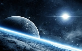 Picture space, planet, glow, the atmosphere, space