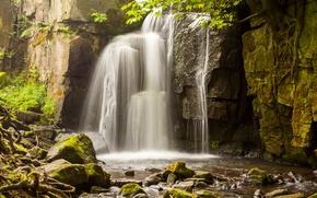 Wallpaper rock, stones, water, waterfall, moss, squirt