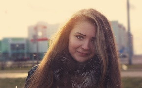Picture girl, snow, smile, portrait, glow, wallpaper