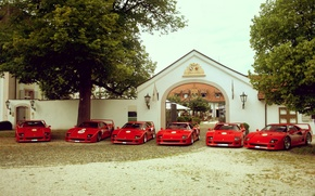 Picture trees, red, house, Ferrari, red, house, grass, Ferrari, the gates, tree, f40, F40, gate