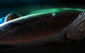 Picture space, surface, lights, planet