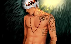 Picture flowers, tattoo, beads, guy, Art, wreath, torso