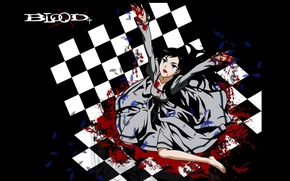 Picture darkness, madness, Blood+, chess Board, diva, blood spatter, a pool of blood, Hayashi Nomura art, …