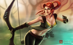 Picture girl, game, bow, art, game, arrows, DotA 2, Defense of the Ancients, Dota 2, windranger