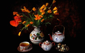 Picture flowers, tea, Maki, kettle, Cup, nuts, still life