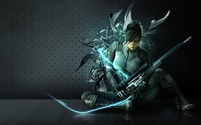 Picture girl, gun, sexy, game, wanted, long hair, weapon, beautiful, sniper, eye, assassin, pose, rifle, pretty ...