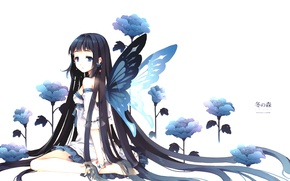 Picture flower, girl, blue, butterfly, brunette, Girl, flower, long hair, long hair, blue, butterfly, brunette