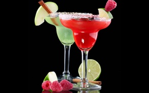 Picture raspberry, background, black, apple, Apple, glasses, cocktail, lime, drink, cinnamon, drinks, fruits, raspberry, cocktails