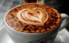 Picture Macro, Figure, Heart, Coffee, Cup, Cappuccino