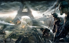 Picture war, Eiffel tower, Paris, helicopters, soldiers, game, tanks, tom clancy's, wallpapers, ubisoft, end war